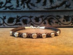 Macrame Bracelet, Sterling Silver, Waxed Linen Bracelet, Woven Bracelet, Thai Silver, Evil Eye Bracelet, Limited Edition, Handmade on Etsy, $36.00