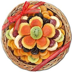 Delightful Bloom Dried Fruit Deluxe Basket-Delightful Bloom Dried Fruit Deluxe Baskets Send this beautiful floral-like arrangement of favorite dried fruits in a woven willow basket. Gift Includes: Dates, Dried Apricots, Dried Pears, Dried Apples, Dri Dried Pears, Dried Fruit, Dry Fruit Basket, Dry Fruit Tray, Gourmet Food Gifts, Gourmet Recipes, Healthy Fruits, Healthy Snacks, Food Art