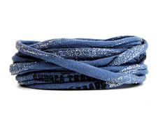 Armbänder - Armband jeans blau Stoff Print & Glitzereff... - ein Designerstück von AT-Schmuck bei DaWanda