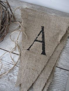 - made from jute and eco friendly fabric Fall Crafts, Crafts To Make, Arts And Crafts, Diy Crafts, Bunting, Shabby Chic Accessories, Twine, Making Ideas, Party