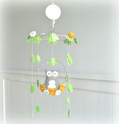 Musical Owl mobile woodland baby crib mobile by LullabyMobiles
