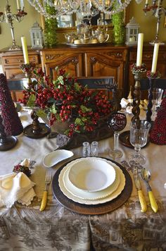 Beautiful holiday table setting with winter berries. Bloomingsales has candles, candlesticks, berry rings, pinecone trees to create this tablescape. Christmas Table Settings, Christmas Tablescapes, Christmas Centerpieces, Christmas Decorations, Holiday Tablescape, Seasonal Decor, Holiday Decor, Christmas Entertaining, Beautiful Table Settings