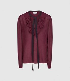 Mackenzie Berry Textured Blouse With Bow Detail – REISS