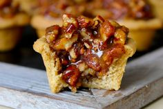 The crust is buttery, the filling is sweet and the pecans are plentiful in these delicious little bites of pecan pie!