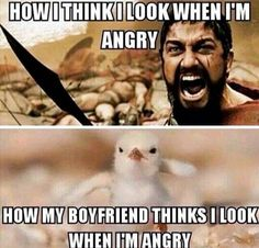 """71 Relationship Quotes - """"How I think I look when I'm angry. How my boyfriend thinks I look when I'm angry."""" 71 Relationship Quotes - How I think I look when I'm angry. How my boyfriend thinks I look when I'm angry. Super Funny, Funny Cute, The Funny, Hilarious, Funny Love Gif, Cute Jokes, Funny Images, Funny Pictures, Funny Pics"""
