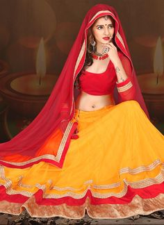 Fine Red and Yellow Pashmina A Line Lehenga Choli