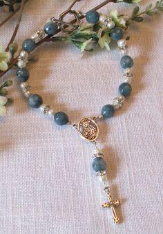 Blue Agate Rosary Bracelet
