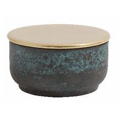 Patina & Brass Round Box With Lid: Lovely dish/box with brass lid by Nordal.
