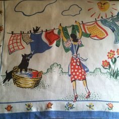 laundry on the line vintage dish towel