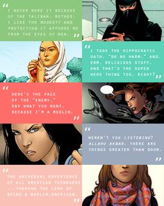 muslim heroines of the marvel universe: sooraya qadir, faiza hussain, monet st. croix, monica chang, kamala khan #marvel
