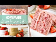 This Homemade Strawberry Cake is full of sweet, fresh strawberry flavor! Moist strawberry cake with strawberry cream cheese frosting - it's berry delicious! Homemade Strawberry Cake, Strawberry Cake Recipes, Dried Strawberries, Strawberries And Cream, Strawberry Cream Cheese Frosting, Smooth Cake, Pink Food Coloring, Dessert Recipes, Desserts