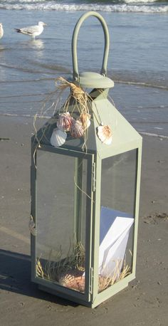 Beach Chic Wedding Gift Card Box Lantern by melsmemorables on Etsy