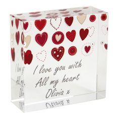 Fabric Hearts Design Medium Crystal Token Gift