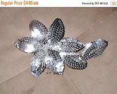 FALL SALE Silver Sequin Petal Spray