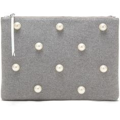 Large Zip Pouch with Pearls (916.505 IDR) ❤ liked on Polyvore featuring bags, handbags, clutches, pouch handbags, large zip pouch, pearl purse, pearl clutches and large zip purse