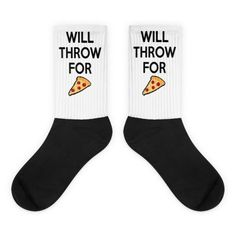 Will Throw For Pizza- Black foot socks  Track and field gifts. Socks for shot put, discus, hammer, and javelin throwers. Will throw for pizza! track and field Christmas gift ideas.