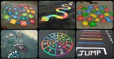 Imagination Excercise for kids Playground Painting, Playground Games, Outdoor Playground, Outdoor Classroom, Outdoor School, Kindergarten Design, School Murals, Hopscotch, Sidewalk Chalk