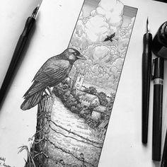 Pen and ink drawing -Philip Harris Ink Illustrations, Illustration Sketches, Art Sketches, Ant Drawing, Painting & Drawing, Ink Pen Drawings, Sketchbook Inspiration, Pen Art, Black Metal