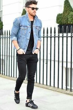 How to wear shirt, denim jacket men, denim jackets, fashion kids, mens fash Fashion Kids, Trendy Mens Fashion, Mens Fashion Suits, Fall Fashion, Jackets Fashion, Jeans Fashion, Fashion Outfits, Curvy Fashion, Fashion Styles
