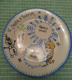 Frozen Personalised Gift Santa treat plate Christmas Eve snack