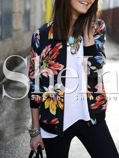 Shop Black Long Sleeve Floral Jacket online. SheIn offers Black Long Sleeve Floral Jacket & more to fit your fashionable needs.