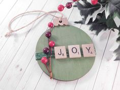 Scrabble Letter Crafts, Scrabble Ornaments, Wood Ornaments, Ornament Crafts, Handmade Ornaments, Handmade Christmas, Crafts With Scrabble Tiles, Scrabble Wall, Tree Crafts