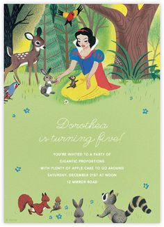 """Snow White parties are so popular right now. Check out this """"Snow White's Forest Friends"""" invitation by Paperless Post. Online Snow White & the Seven Dwarfs invitations for kids' birthdays have easy-to-use design tools and RSVP tracking. View other Disney invitations on paperlesspost.com/disney."""