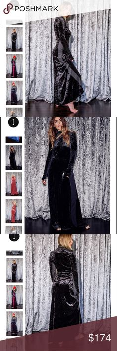 Nasty Gal Hot-As-Hell Dress 2 Impress Velvet Maxi DRESS 2 IMPRESS in this long sleeved maxi dress with turtleneck. In Hot-As-Hell's signature luxurious stretch crushed velvet, a sweeping hem ensures you'll be comfy. Thumb hole detail at the wrists keeps it feeling casual. This dress has deep pockets large enough to fit an iPhone 6. Plus it's blissfully low maintenance – no dryers or dry cleaners required, just a simple, sexy dress that you can wash and wear. (You're welcome). Pair with your…