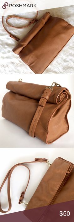 """ZARA Basic Cognac Messenger Bag *Spring/Summer 2013, includes detachable, non-adjustable should strap (18.5"""" length), magnetic closure, can be worn as a shoulder bag or used as a clutch. *Paper Bag inspired.  *12"""" Length, 5"""" Width, 8"""" Height (when rolled). *Faux leather polyurethane, polyester lining. *Pre-Loved and used only a few times. Lining has few markings from use. Zara Bags Shoulder Bags"""