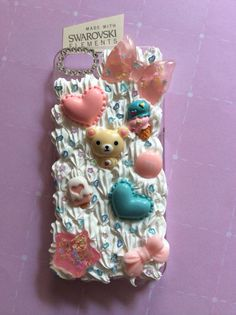 CUTE ALERT! Quality handmade iPhone 5/5s Kawaii Decoden phone case. High gloss finish silicone frosting, genuine Swarovski crystals. $24 on etsy.com