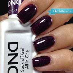 NEW FORMULA! Daisy Soak Off Gel Nail Color: Queen of Grape 1479. Dark purple with slightly red shimmer. Size 0.5 oz/15ml. LIMITED PROMOTION: FREE MATCHING NAIL POLISH IN A PACK! About the NEW Daisy S