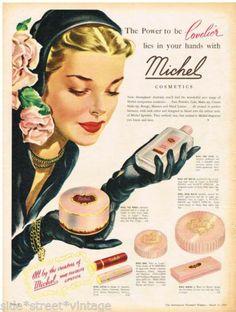 MICHEL COSMETICS AD LIPSTICK Vintage Advertising 1953