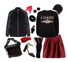 """""""Red N' Black Plus Size Outfit"""" by marjolaineetvous on Polyvore featuring mode, rag & bone, City Chic, Cheville, Rado, Marques'Almeida, Balmain et Lime Crime"""