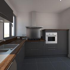 cuisine grise petite et moderne implantation en l plan de travail bois dcor chne