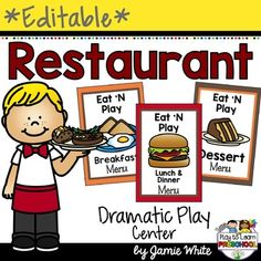 Restaurant Dramatic Play by Play to Learn Preschool Preschool Food, Preschool Centers, Preschool Teachers, Preschool Ideas, Dramatic Play Area, Dramatic Play Centers, Sociodramatic Play, Role Play, Pretend Play
