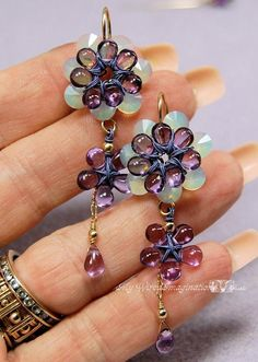 Jewelry: Purple Freesia Earrings  Beautiful color combo! blue and purple are so great together!