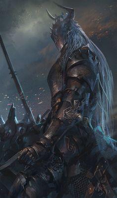 Art featuring medieval knights and their fantasy/sci-fi counterparts. Dark Fantasy Art, Foto Fantasy, Fantasy Armor, Medieval Fantasy, Evil Knight, Death Knight, Knight Art, Fantasy Character Design, Character Art
