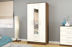 BIRLEA LYNX 3 DOOR 2 DRAWER WARDROBE WITH MIRROR, WALNUT & CREAM