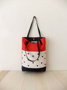 Red Canvas Tote Bag - Black Waxed Canvas Base - Handmade Dotted Canvas Front Pockets - Black Leather Straps - Black Dotted Lining - Everyday