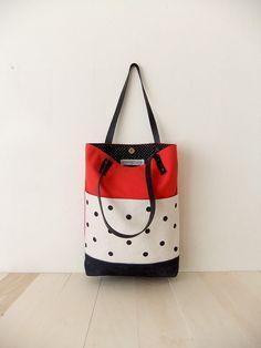 Red Canvas Tote Bag  Black Waxed Canvas Base  van metaphore op Etsy