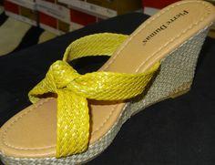 Lime Green (Yellow-Green) Woven Slide Sandal Wedge