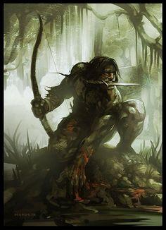 m Barbarian Longbow jungle swamp hilvl Turok – Power Cords High Fantasy, Fantasy Rpg, Medieval Fantasy, Fantasy Artwork, Tarzan, Fantasy Warrior, Dnd Characters, Fantasy Characters, Fantasy Character Design