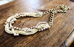 Pearl and long gold chain necklace sweater by HollyODesigns