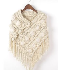 Triangle Knit Cape with Tassels Detail (without patterns)
