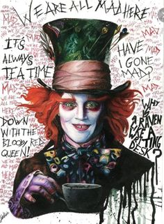 The Mad hatter from Alice in Wonderland (Tim Burton)Watercolour Dark Alice In Wonderland, Alice In Wonderland Drawings, Adventures In Wonderland, Disney Kunst, Disney Art, Mad Hatter Drawing, Mad Hatter Tattoo, Mad Hatter Day, Johnny Depp Mad Hatter