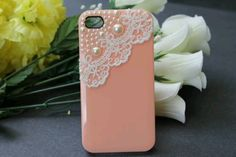 Pink case with pearls