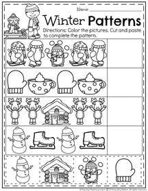 Preschool Pattern Worksheets for January.
