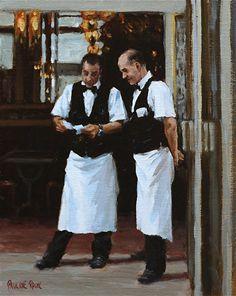 Parisian Waiters Discussing the Checks by Pauline Roche Oil ~ 10 x 8