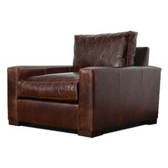 big comfy boxy leather chair