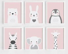 Pink Printable Nursery wall Art Set of 6 Poster Baby girl print Kids room decor Bear and Bunny Anima - Etsy - Welcome to the World of Decor! Nursery Prints, Nursery Wall Art, Nursery Decor, Bunny Nursery, Girl Nursery, Baby Girl Room Decor, Wall Art Sets, Art For Kids, Etsy